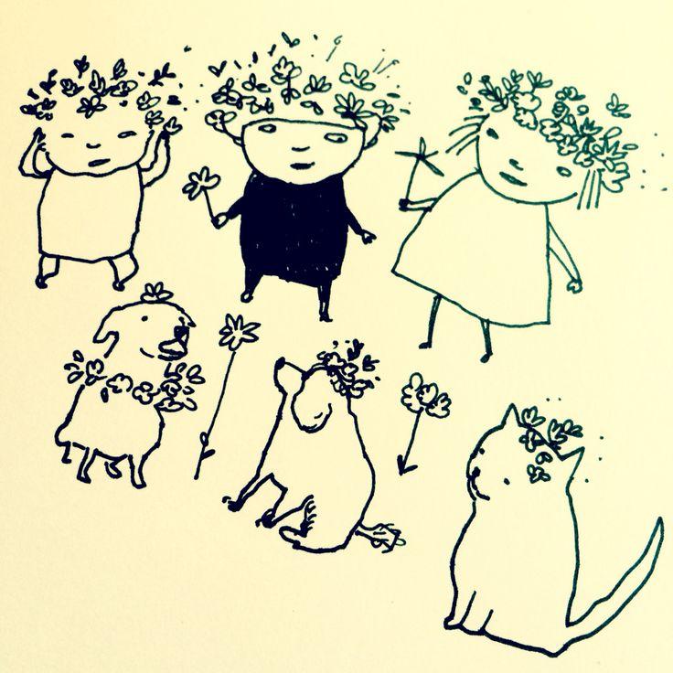 Happy Midsummer! Glad Midsommar! by Marie Åhfeldt – Mås Illustra. www.masillustra.se #illustration #drawing #cat #cute #pet #dog #happy #midsummer #midsommar #kid