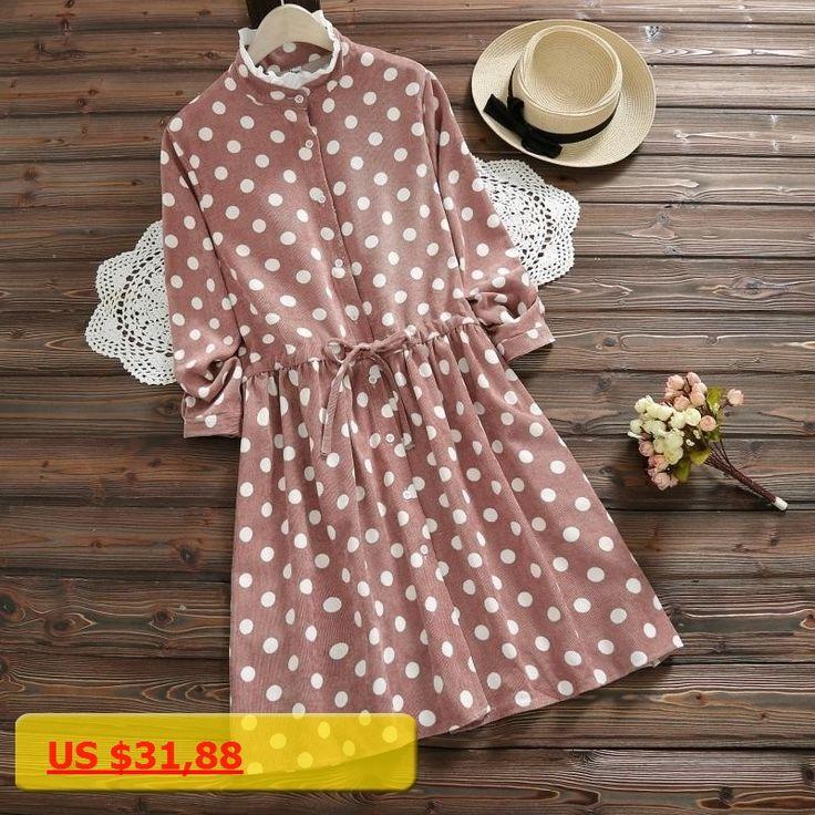 A Line long sleeve autumn winter all match dot print fashion corduroy women dress pink dresses elastic waist dress