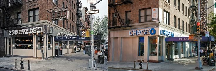 The Second Avenue Deli on the Lower East Side changed locations after it was replaced by a Chase Bank.