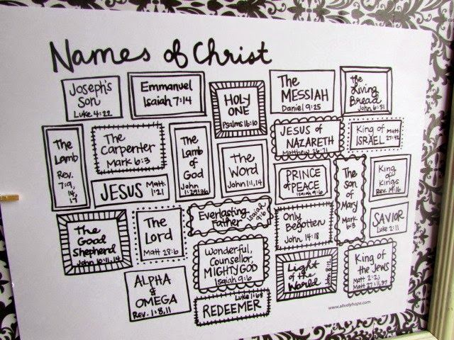 A Lively Hope: Hand-Lettered Names of Christ Advent {free printable}