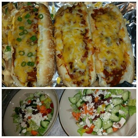 Chili cheese jalapeños dogs with a salad