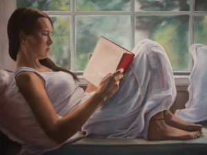"""""""The reader"""" oil on canvas copyright 2013 Mia Laing #oilpainting #painting #figurativepainting #narrativefigurativepainting"""