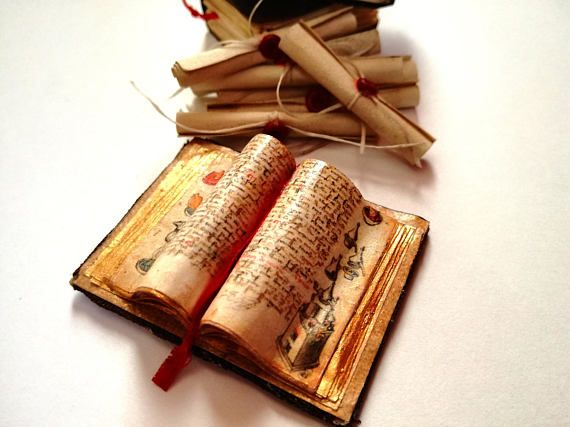 Miniature alchemy open book for medieval 1:12 dolls houses https://www.etsy.com/uk/listing/533237040/witchy-dollhouse-miniature-open-book-112