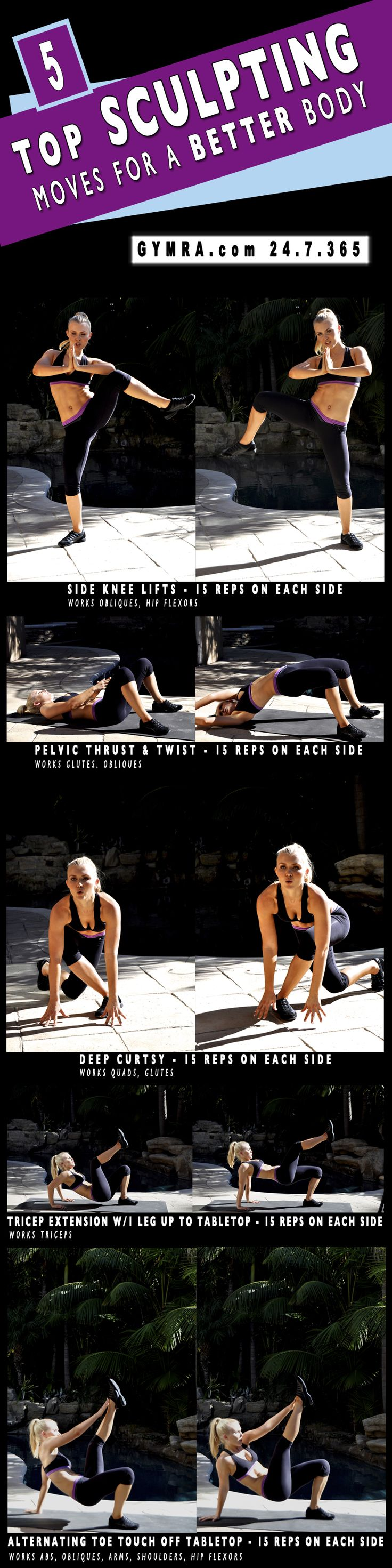 http://www.gymra.com/blog/5-top-sculpting-moves-for-a-better-body/ - 5 Top Sculpting Moves for a Better Body