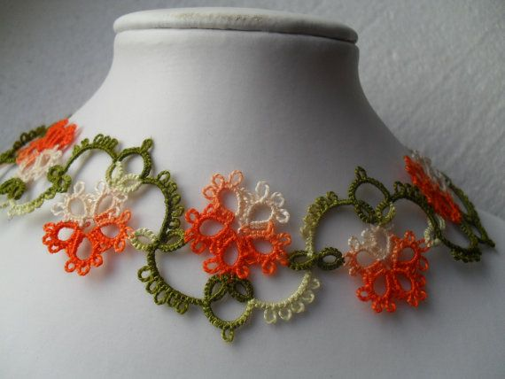 Spring necklace multicolor necklace flowers by carmentatting, $40.00
