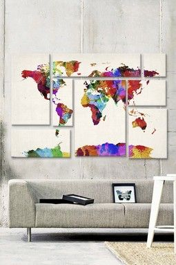 Map of The World Abstract Painting II by Michael Tompsett Canvas Print