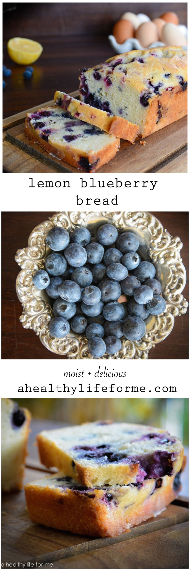 Lemon Blueberry Bread is the perfect sweet tart bread to enjoy in the morning with coffee or tea.  Or even as a light dessert | ahealthylifeforme.com