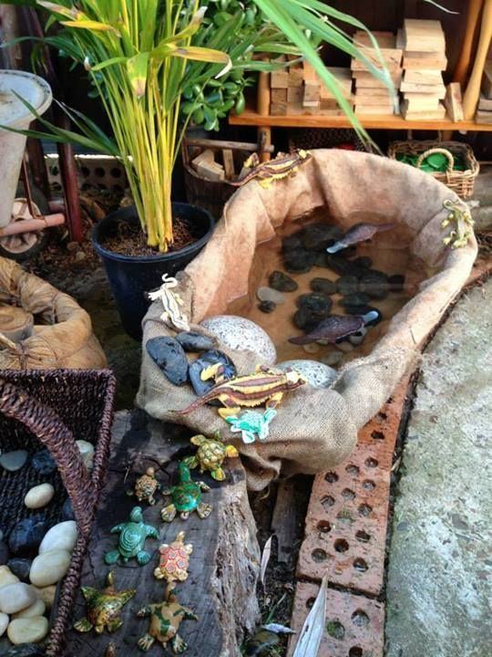 """Cute 'billabong' with rocks, turtles  lizards, from Puzzles Family Day Care ("""",)"""