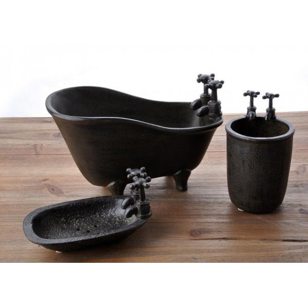Country Model Siyah 3 lü Banyo Seti- Zide Dekor - Dekorasyon Mağazanız