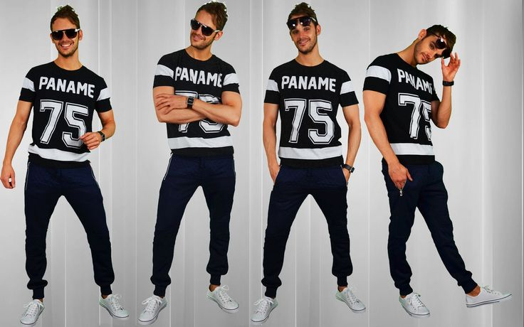Paname T | Sweatpants blue | Low sneakers white | Sunglasses purple http://mymenfashion.com/paname-t-shirt.html