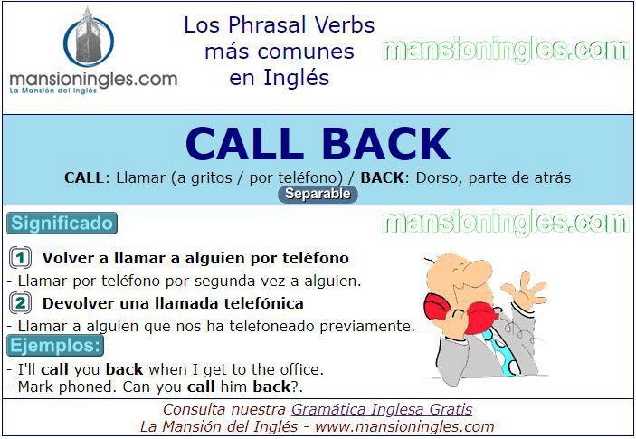 Phrasal Verbs significado de Call Back   Numeros ordinales en ingles,  Ingles, Phrasal verbs en ingles