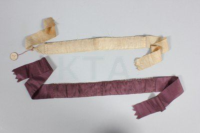 Lot: Two embroidered silk garters, French, late 18th, Lot Number: 0193, Starting Bid: £100, Auctioneer: Kerry Taylor Auctions, Auction: Antique and Vintage Fashion and Accessories, Date: February 25th, 2014 CET
