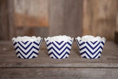 12 Navy Blue Chevron Cupcake Wrappers - Navy Blue Cupcake Wrappers - Chevron Cupcakes - Great for Birthday Parties & Baby Showers
