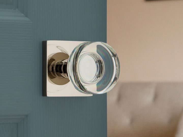 Emtek's new disc crystal door knob. Assa Abloy