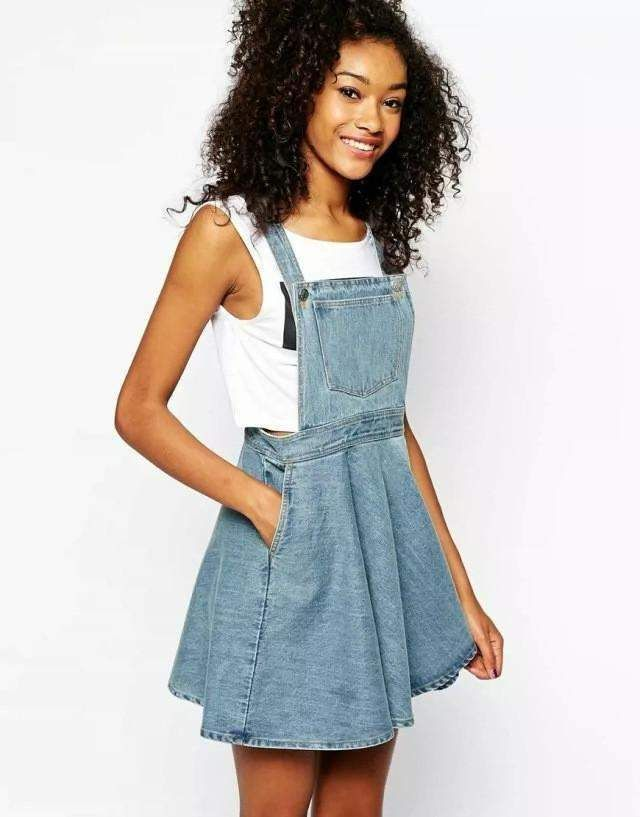 Girly Denim Straps Dress, Mini Pleated Casual Street Wear