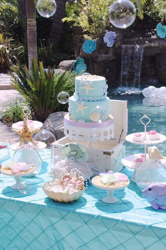 Lovely pastel under the sea mermaid party! See more party planning ideas at CatchMyParty.com!