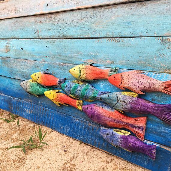 Talladas a mano colorido pez de la pared del mar colgantes decoración…