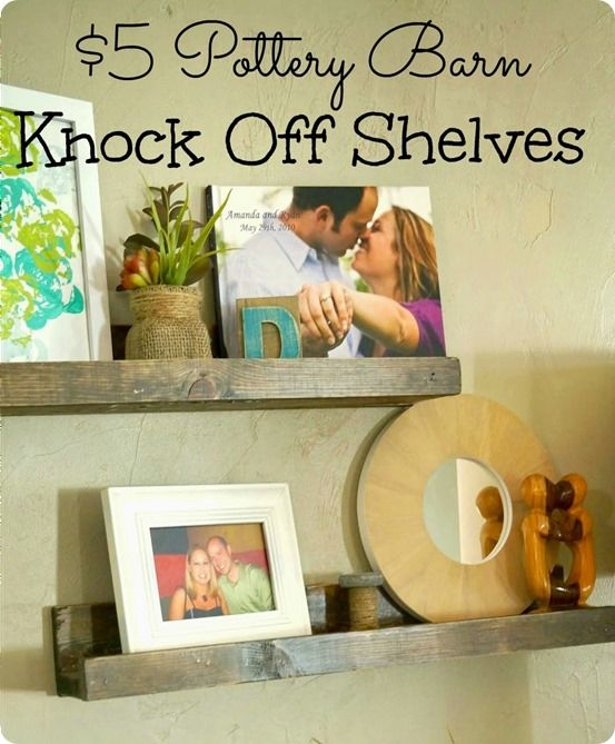 DIY Home Decor | Wall Decor | Find out how these Pottery Barn knock off picture ledges were made for only $5!