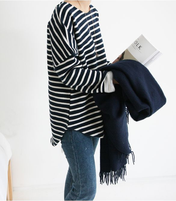 Dieser grundlegende gestreifte Pullover, der im Schrank nicht fehlen darf. Umso mehr bei schönen Jeans!