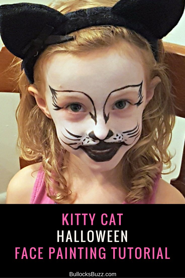 Kitty Cat Face Painting Tutorial Halloween with Snazaroo
