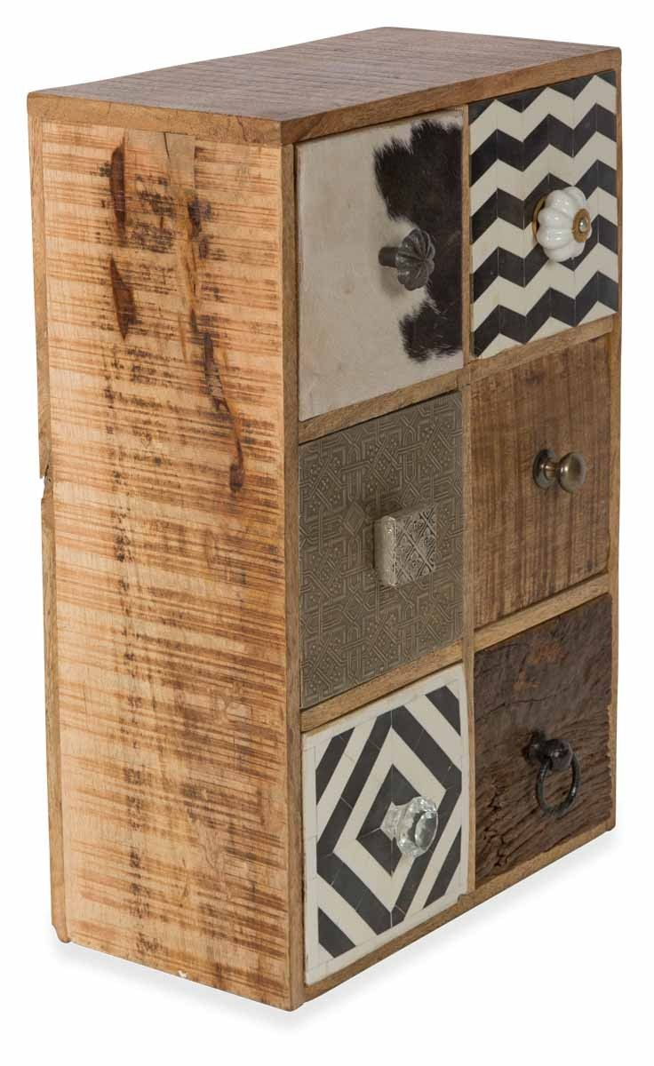 Mango & Recycled Wood Wood  Cow Hide and Pressed Metal 6 Drawer Free Standing and Wall Mountable Storage Unit