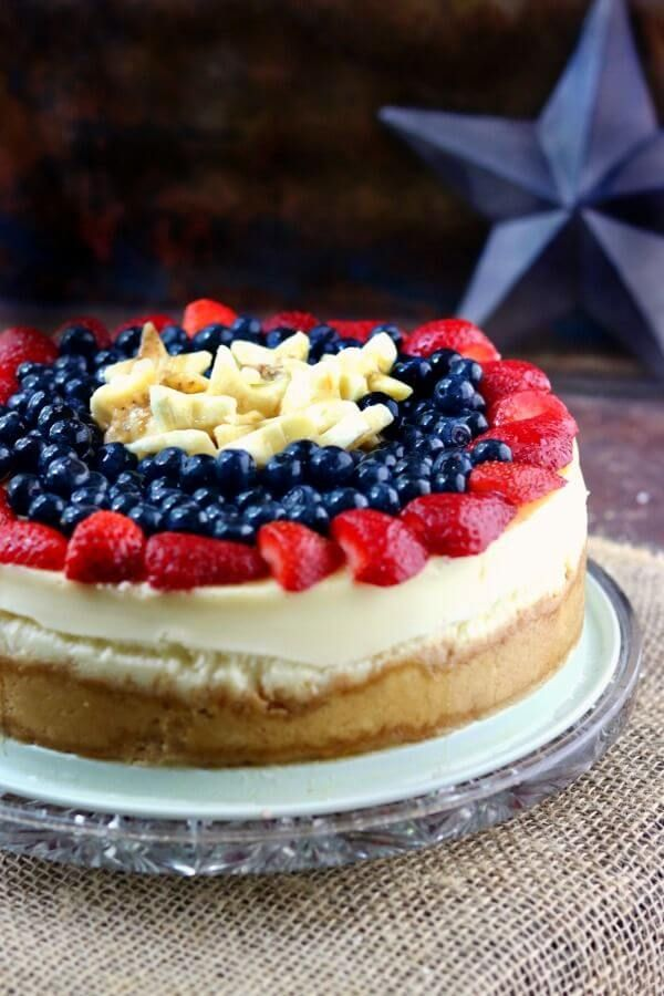 Plain cheesecake recipe is the best homemade cheesecake ever AND the perfect foundation for thousands of variations like this 4th of July cheesecake! From RestlessChipotle.com