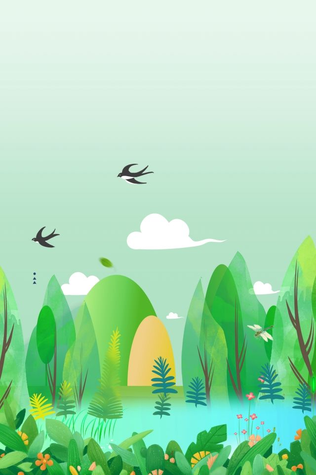 Fresh Simple Cartoon Swallow Forest Spring Outdoor Field Green Dekorasi