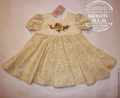 """Одежда для девочек, ручной работы. Заказать Платье с вышивкой """"Чайная роза"""". Юлия Кихтенко. Детские платья. Ярмарка Мастеров.…"""