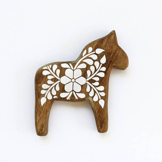 Mini Dala Horse Wall Decor, Wooden Swedish Horse, white floral, stained, animal silhouette, folk, scandinavian design, art, gift MD1726
