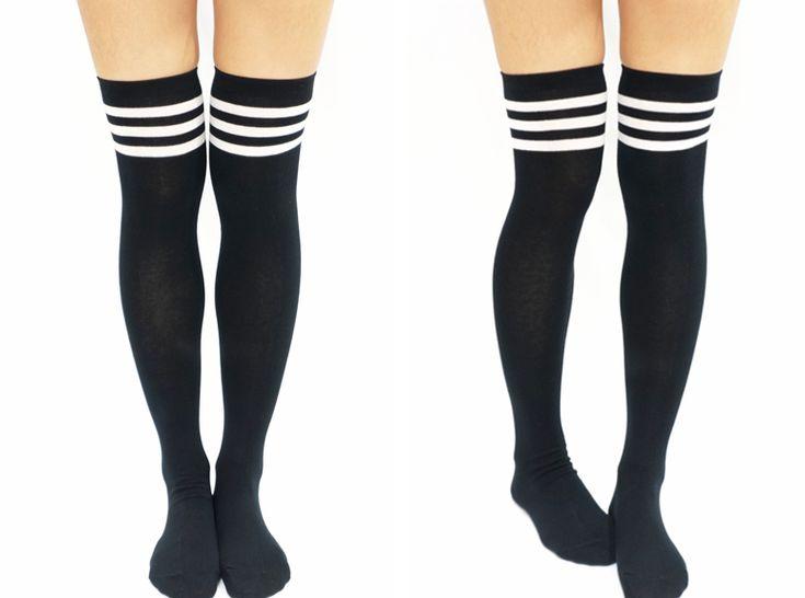JK White Stripe Cotton Thigh High Socks - Black  Free Size  Style by @wioleth
