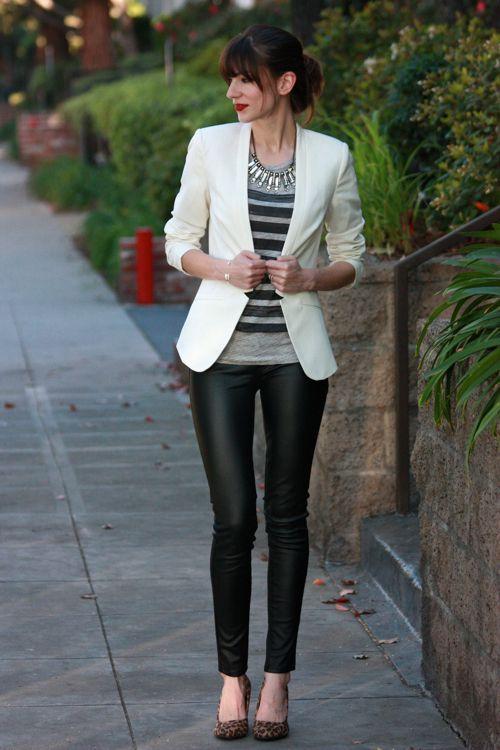 black pants gray black patterned striped sweater white blazer statement necklace black heels