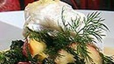 Bakad kummel med långkål och Beurre Blanc | SVT recept