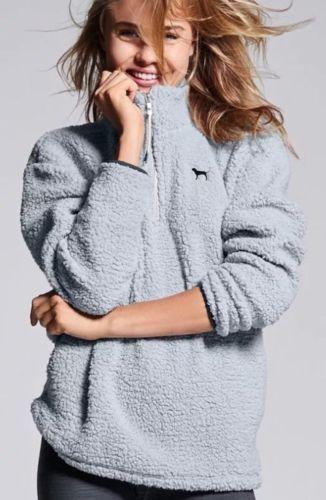 Victoria s Secret Pink Sherpa Boyfriend Quarter Zip Grey Pullover Fleece LARGE L   eBay