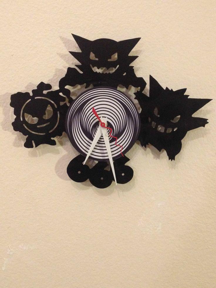 Gastly Haunter and Gengar - Vinyl Record Clock #Pokemon