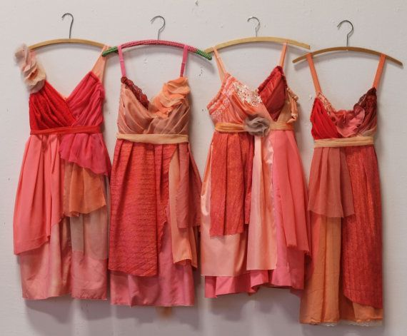 These photos show examples of coral, fuschia, orange, and poppy dresses made for…