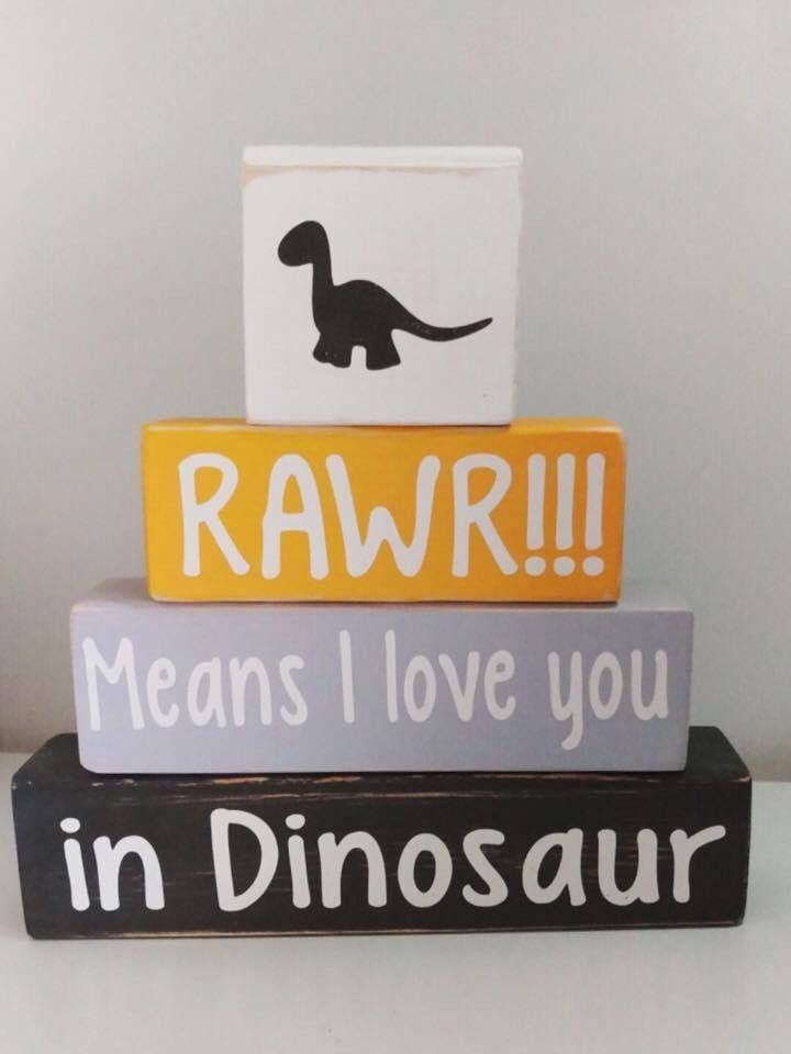 Baby Boy Nursery Decor, Dinosaur Theme Blocks, Rawr Means I Love You In Dinosaur, Baby Shower Gift, Custom