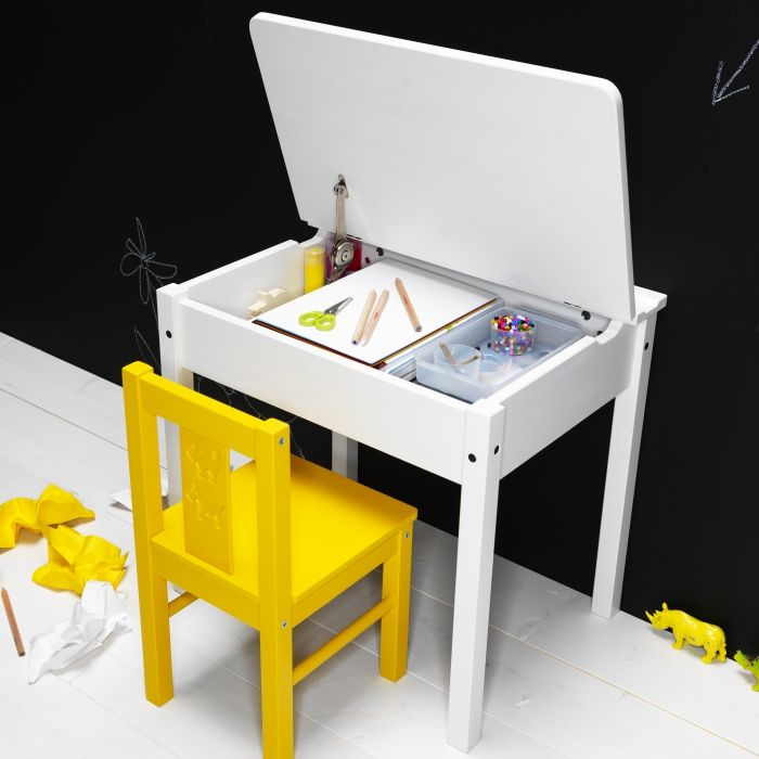 SUNDVIK - Space for reading, coloring, and doing hobbies in a little flip-top desk.