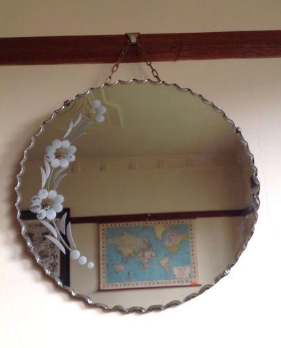 Retro-Vintage-MIRROR-Circular-Beveled-Pie-Crust-Hanging-Mid-century-Art-Deco