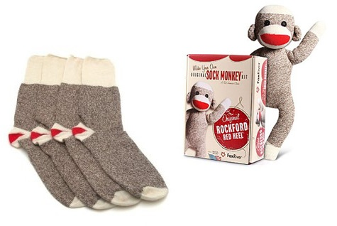 Original Red Heel Socks ($7/pair) from Fox River Mills in Osage, Iowa. When he's done with them, DIY a real sock monkey from them using Fox River's free sock monkey & sock elephant instructions (PDF).