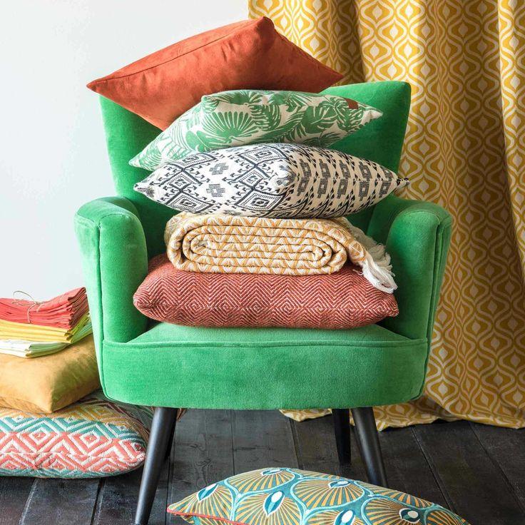 Housse de coussin en coton motifs