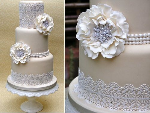 vintage pearl wedding cake with lace by Nice Icing