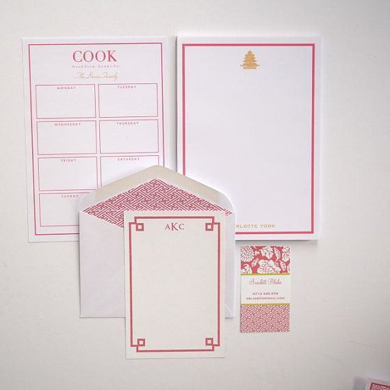 Personalized Note Pad Pagoda, Fretwork Note Cards, Menu Planner Note Pad
