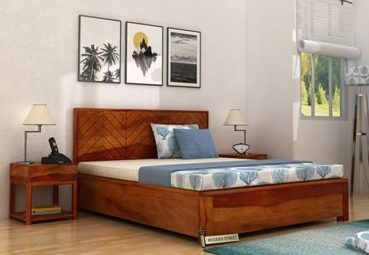 Buy King Size Neeson Hydraulic Bed with Honey Finish and get an elegant style of decor. The enticing hydraulic bed designs at Wooden Street are are lovely. Shop your new hydraulic storage bed online in #Hyderabad #Ahmedabad #Lucknow #Gurgaon