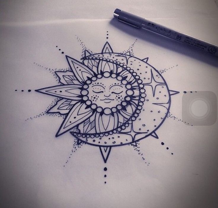 Perfect sun and moon mandala tattoo