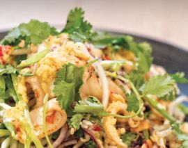 Chilli Squid, Peanut and beansprout salad, coconut yogurt - Nathan Outlaw.