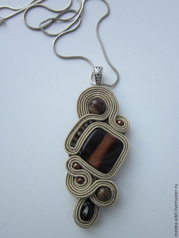 Купить Кулон с коричневым перламутром - коричневый, кулон с перламутром, натуральный камень, бусины стеклянные