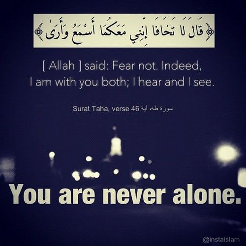 {ALLAH} SAID: FEAR NOT. INDEED, I AM WITH YOU BOTH; I HEAR AND I SEE {SURAT TAHA VERSE 46}