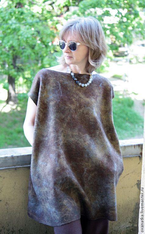 Платья ручной работы. Ярмарка Мастеров - ручная работа Валяная туника Brown Square. Handmade.