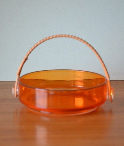 Vintage  retro orange glass bowl bamboo handle Japan
