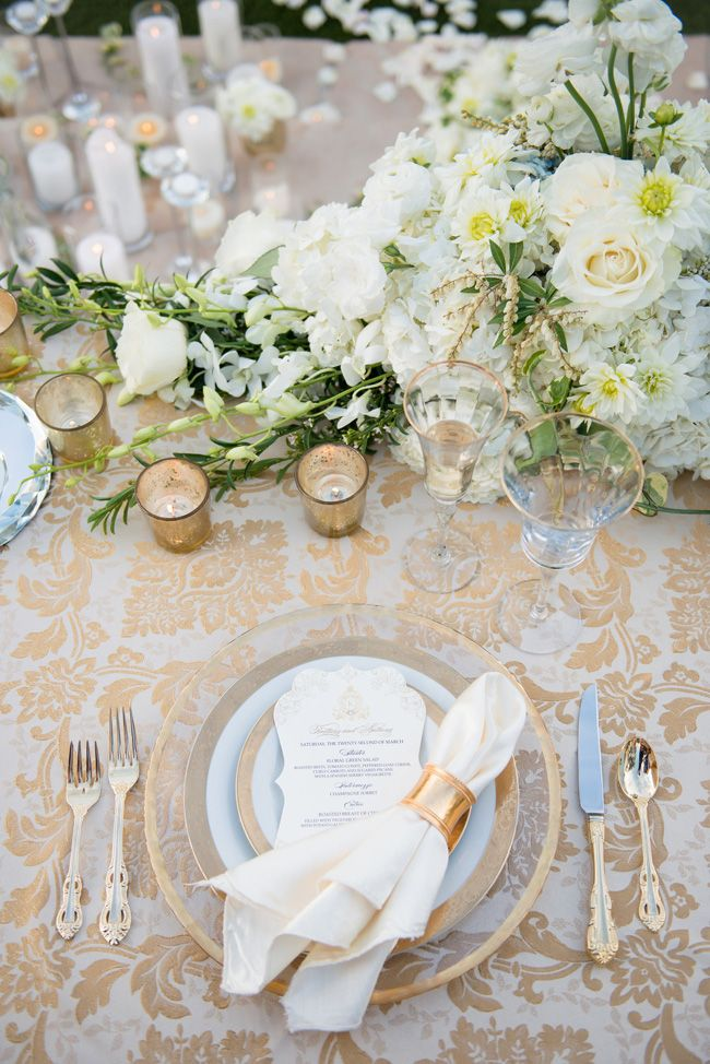 Gold rim plate place setting | Black Tie Surprise Proposal Cinderella Wedding | Photograph by Ryan & Denise Photography http://storyboardwedding.com/black-tie-surprise-proposal-cinderella-wedding/